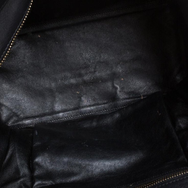Celine Black Leather Mini Luggage Tote For Sale 1