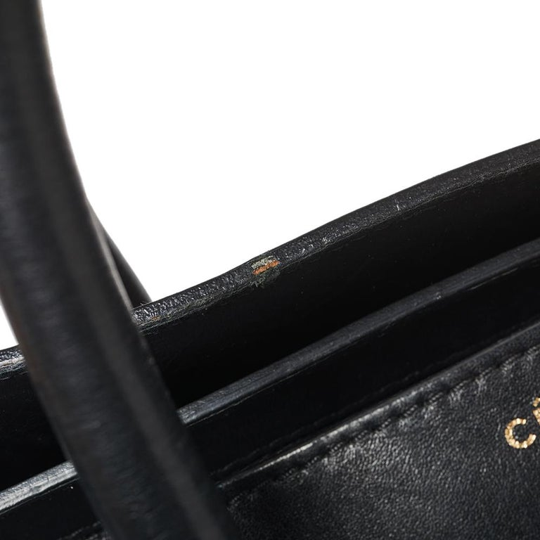 Celine Black Leather Mini Luggage Tote For Sale 1