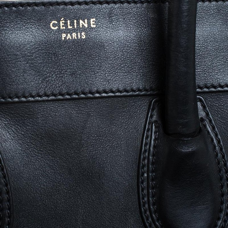 Celine Black Leather Mini Luggage Tote For Sale 2