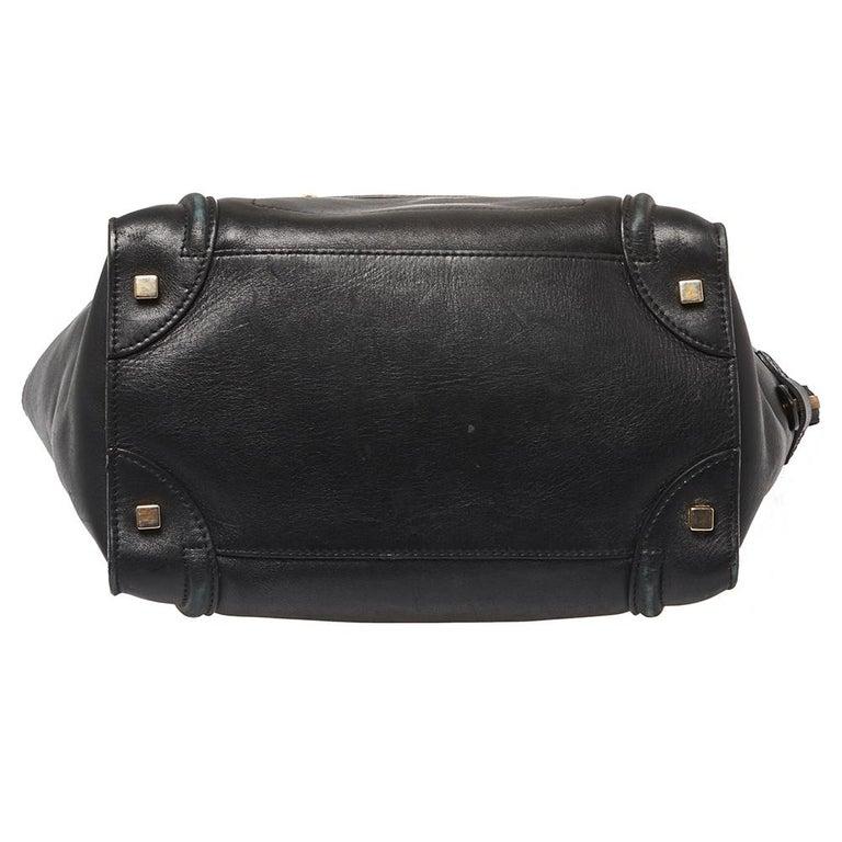 Celine Black Leather Mini Luggage Tote For Sale 2
