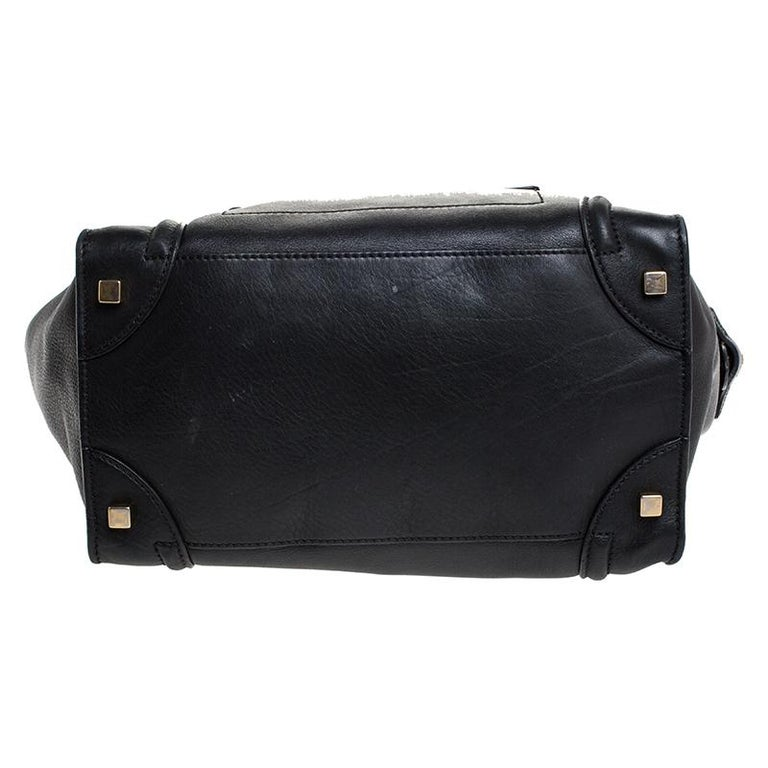 Celine Black Leather Mini Luggage Tote For Sale 3