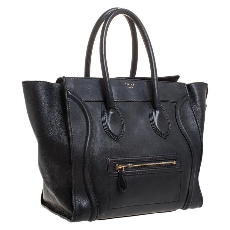 Celine Black Leather Mini Luggage Tote For Sale 4