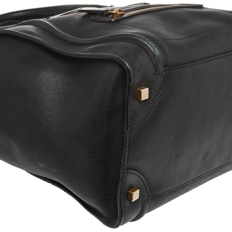Celine Black Leather Mini Luggage Tote For Sale 4