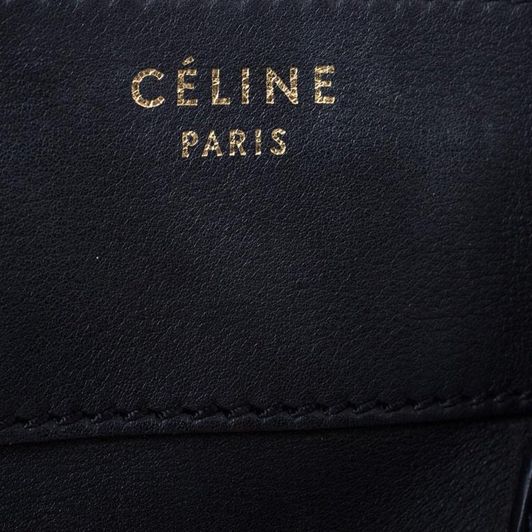 Celine Black Leather Mini Luggage Tote For Sale 5
