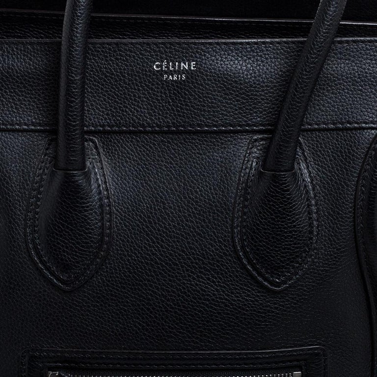 Celine Black Leather Mini Luggage Tote For Sale 5