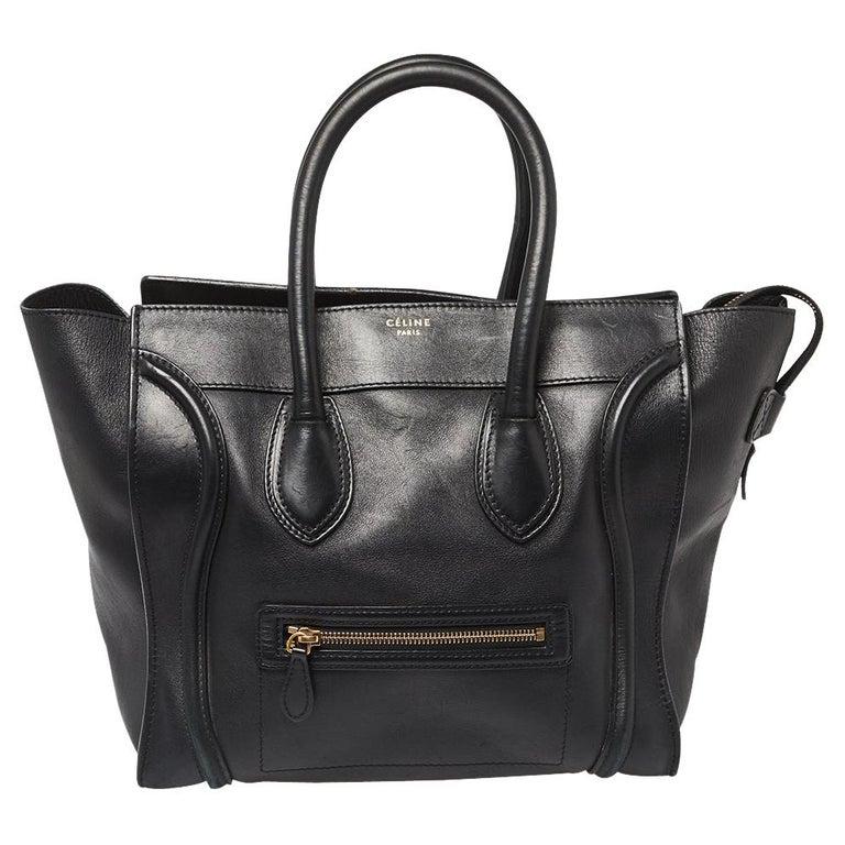 Celine Black Leather Mini Luggage Tote For Sale