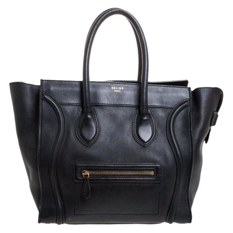 Celine Black Leather Mini Luggage Tote For Sale