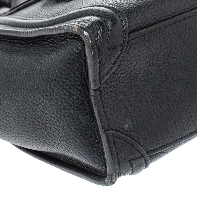 Celine Black Leather Nano Luggage Tote 6