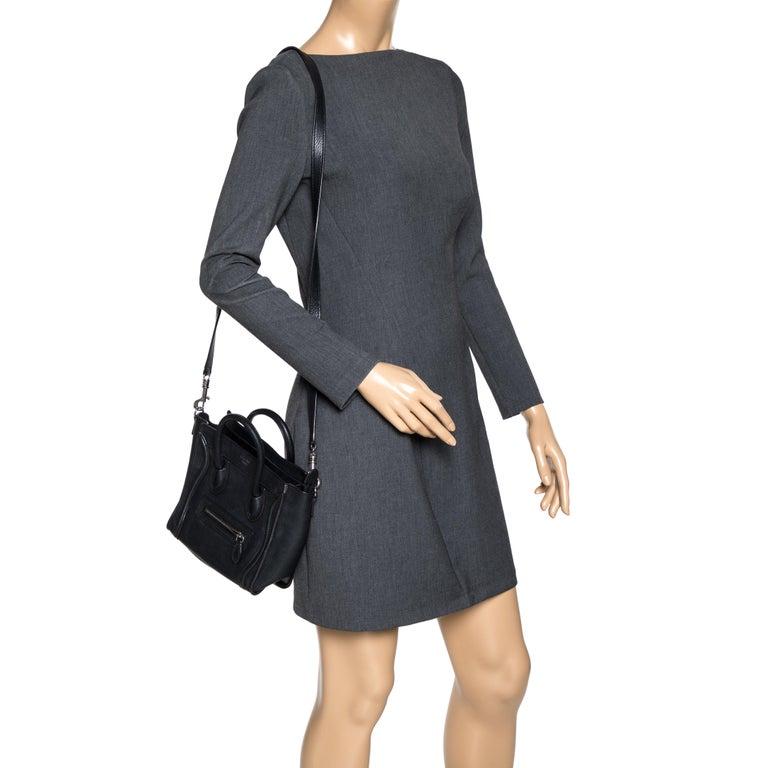 Celine Black Leather Nano Luggage Tote In Good Condition In Dubai, Al Qouz 2