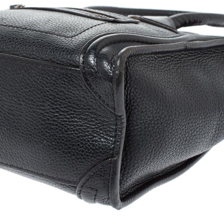 Celine Black Leather Nano Luggage Tote 2