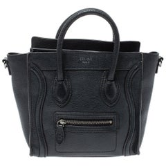Celine Black Leather Nano Luggage Tote
