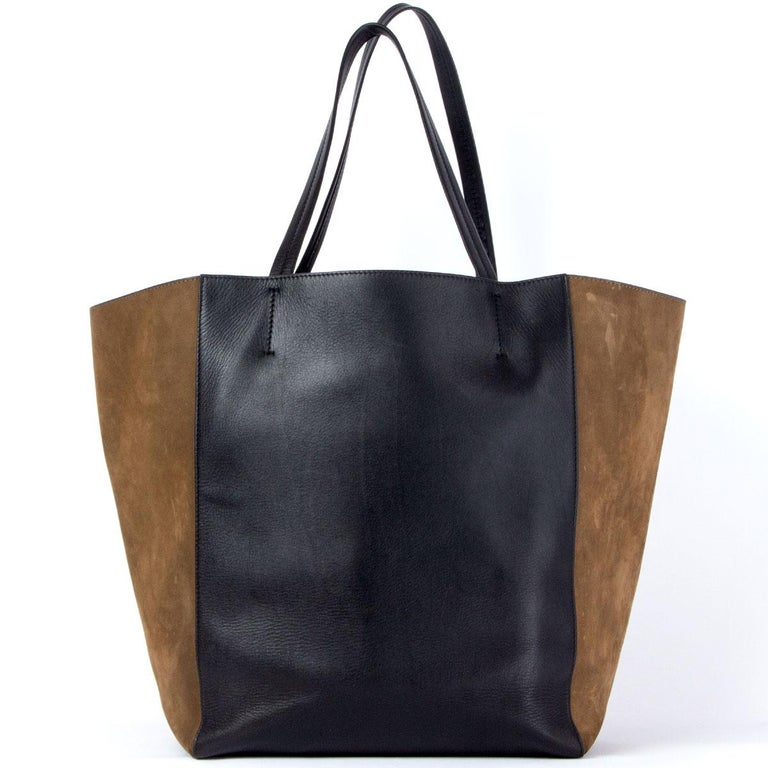 CELINE black leather & olive suede HORIZONTAL CABAS PHANTOM MEDIUM Tote Bag In Good Condition For Sale In Zürich, CH