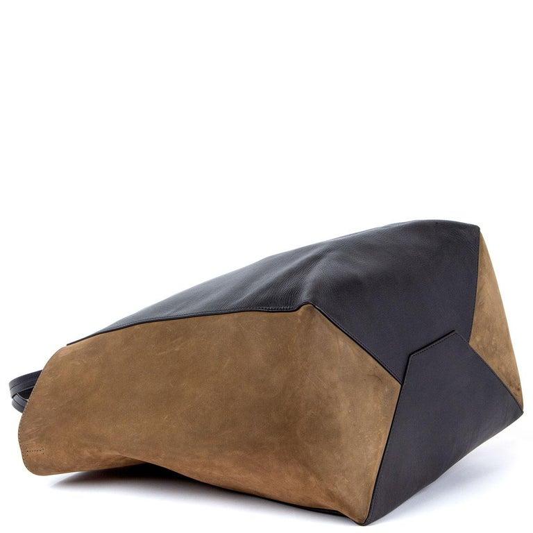 Women's CELINE black leather & olive suede HORIZONTAL CABAS PHANTOM MEDIUM Tote Bag For Sale