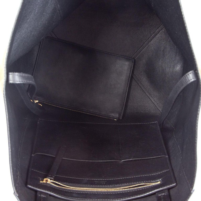 CELINE black leather & olive suede HORIZONTAL CABAS PHANTOM MEDIUM Tote Bag For Sale 1