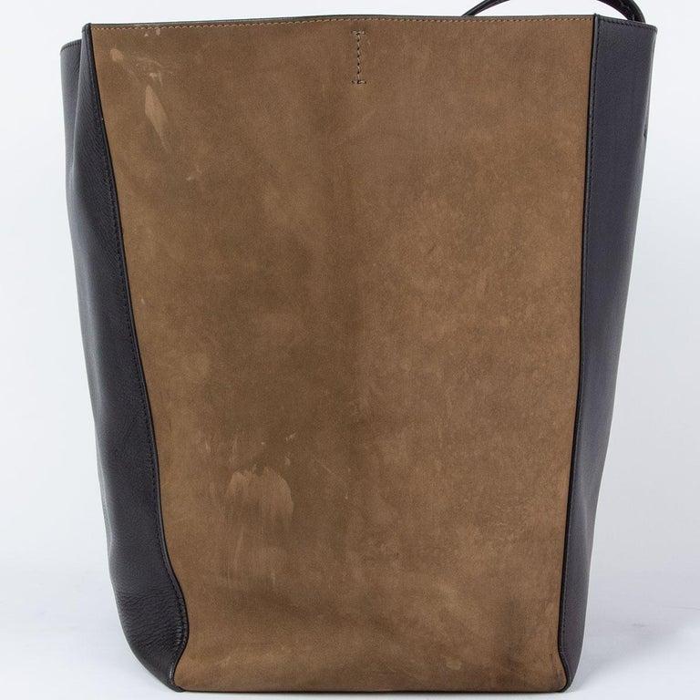 CELINE black leather & olive suede HORIZONTAL CABAS PHANTOM MEDIUM Tote Bag For Sale 2
