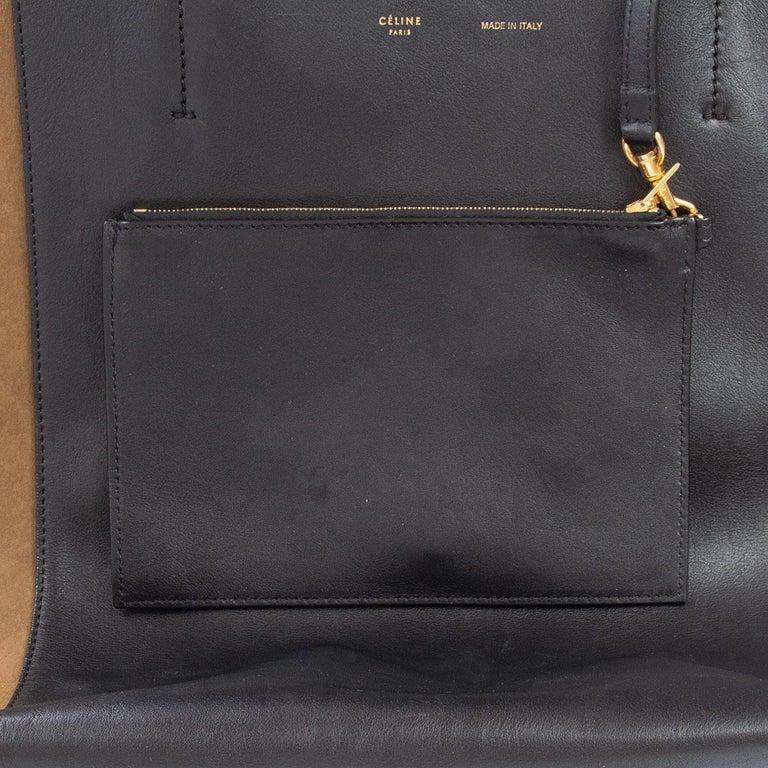 CELINE black leather & olive suede HORIZONTAL CABAS PHANTOM MEDIUM Tote Bag For Sale 3