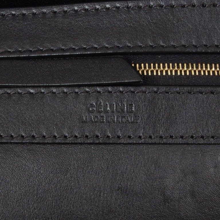 CELINE black leather & olive suede HORIZONTAL CABAS PHANTOM MEDIUM Tote Bag For Sale 4