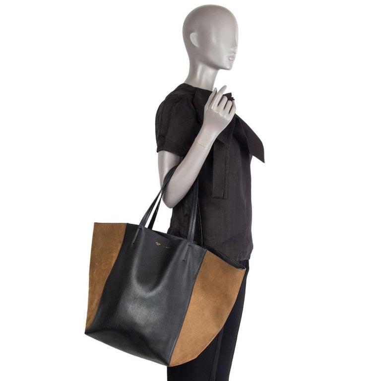 CELINE black leather & olive suede HORIZONTAL CABAS PHANTOM MEDIUM Tote Bag For Sale 5