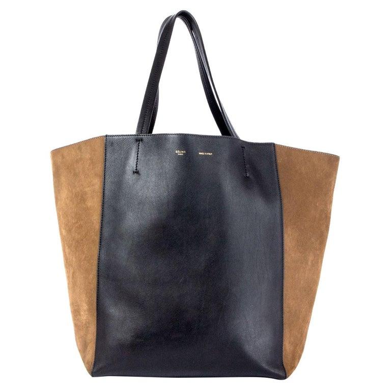 CELINE black leather & olive suede HORIZONTAL CABAS PHANTOM MEDIUM Tote Bag For Sale