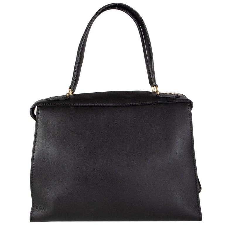 Black CELINE black leather RING SMALL Top Handle Bag For Sale