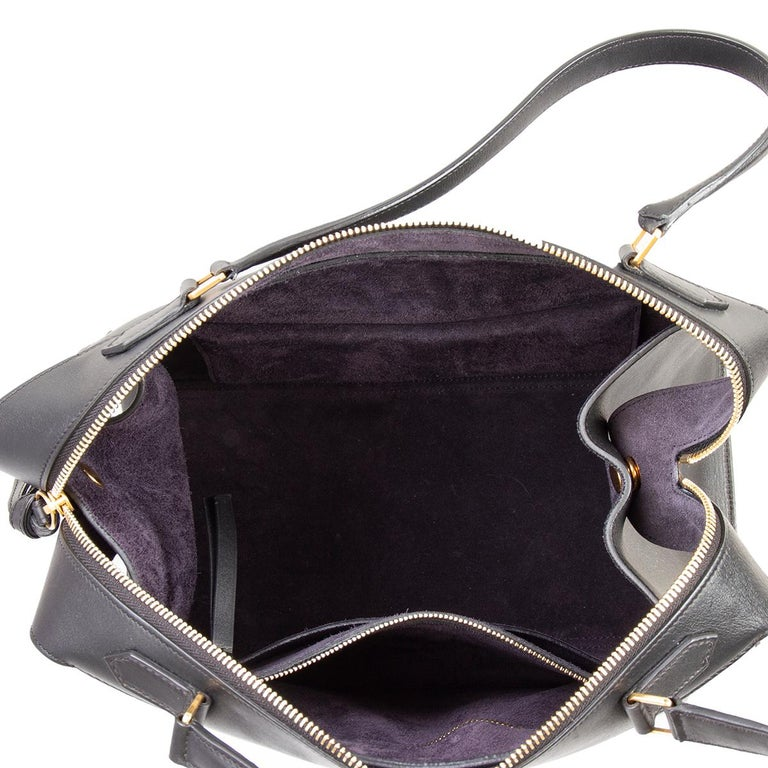 Women's CELINE black leather RING SMALL Top Handle Bag For Sale