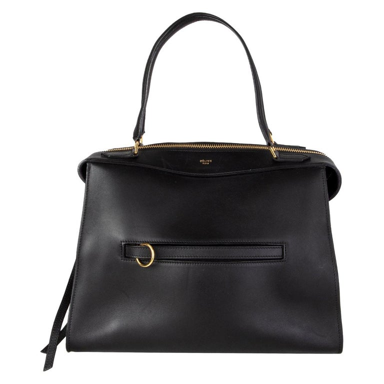 CELINE black leather RING SMALL Top Handle Bag For Sale