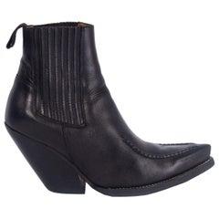 CELINE black leather SANTIAG Western Cowboy Ankle Boots Shoes 39
