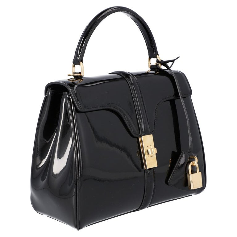 Women's Celine Black Leather Small 16 Bag For Sale
