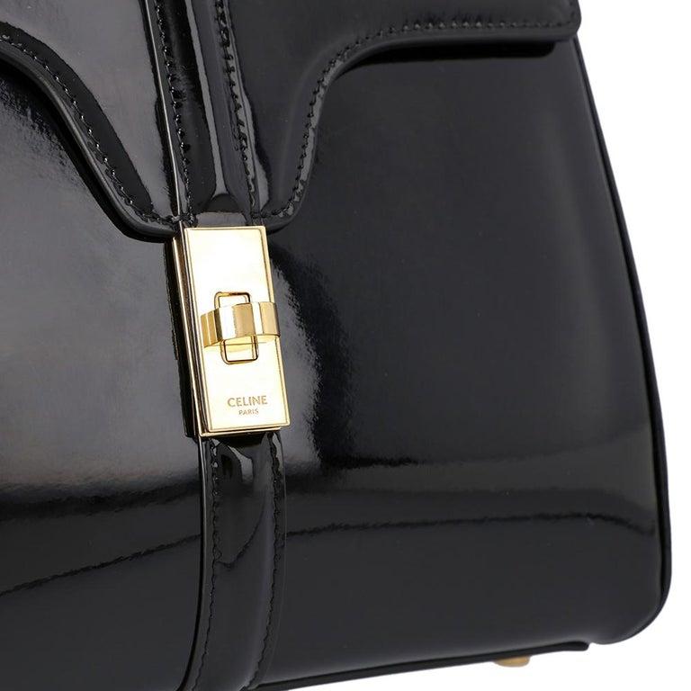 Celine Black Leather Small 16 Bag For Sale 2
