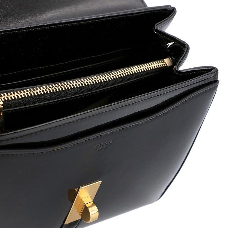 Celine Black Leather Small 16 Bag For Sale 3