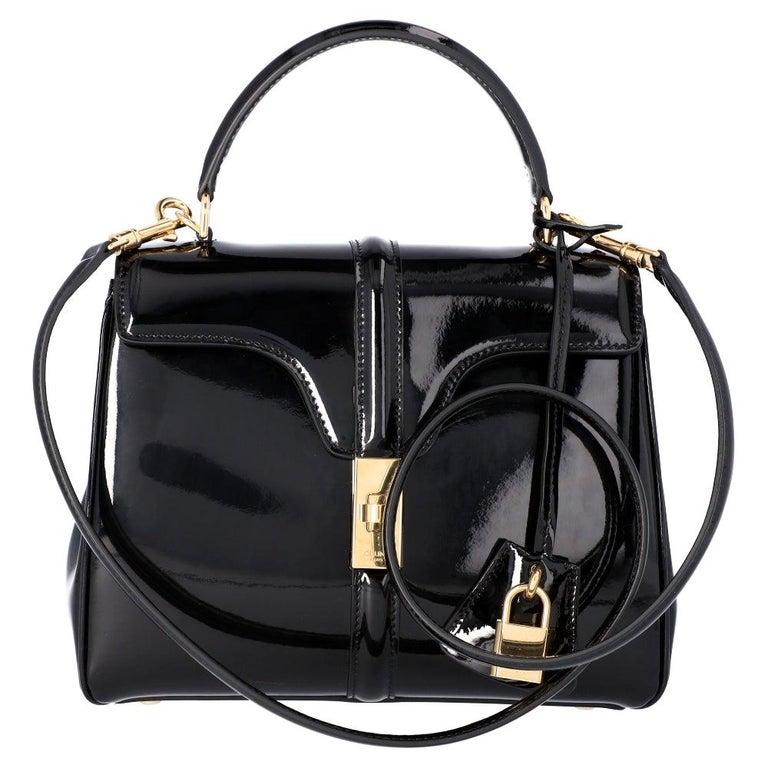 Celine Black Leather Small 16 Bag For Sale