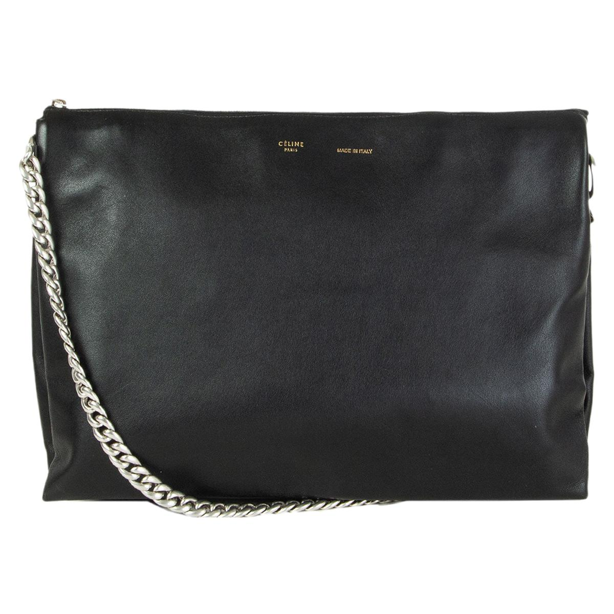 CELINE black leather SOFT TRIO CHAIN Shoulder Bag Clutch