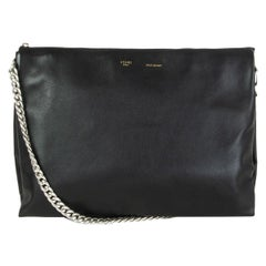 CELINE black leather SOFT TRIO CHAIN Shoulder Bag Clutch