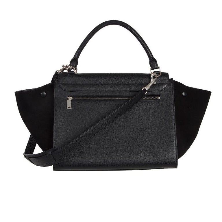 Black CELINE black leather & suede TRAPEZE SMALL Shoulder Bag For Sale