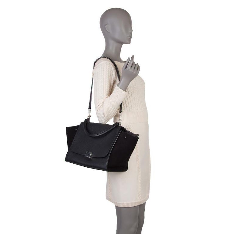 CELINE black leather & suede TRAPEZE SMALL Shoulder Bag For Sale 2