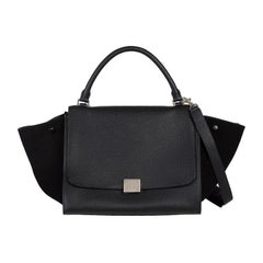 CELINE black leather & suede TRAPEZE SMALL Shoulder Bag