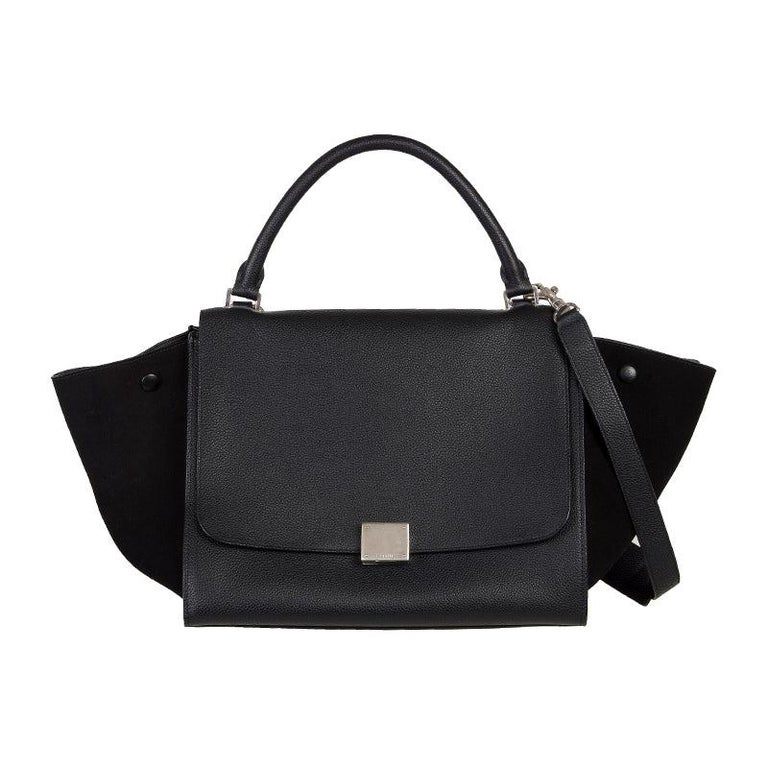 CELINE black leather & suede TRAPEZE SMALL Shoulder Bag For Sale