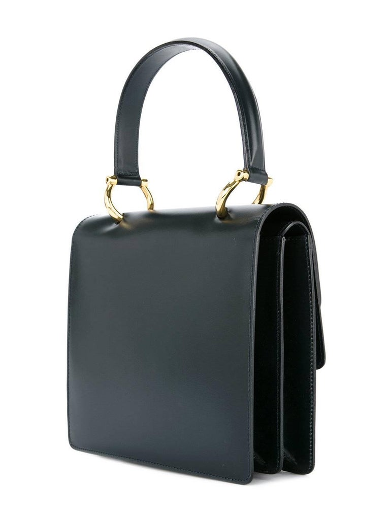 Women's Celine Black Leather Toggle Kelly Style Evening Top Handle Satchel Bag For Sale