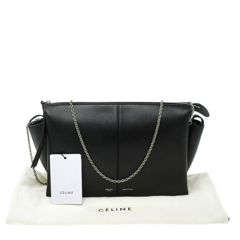 4cae7b874 Celine Black Leather Trifold Chain Clutch For Sale at 1stdibs