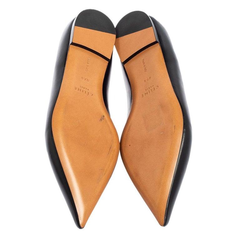 Celine Black Leather V-Neck Ballet Flats Size 37.5 For Sale 2