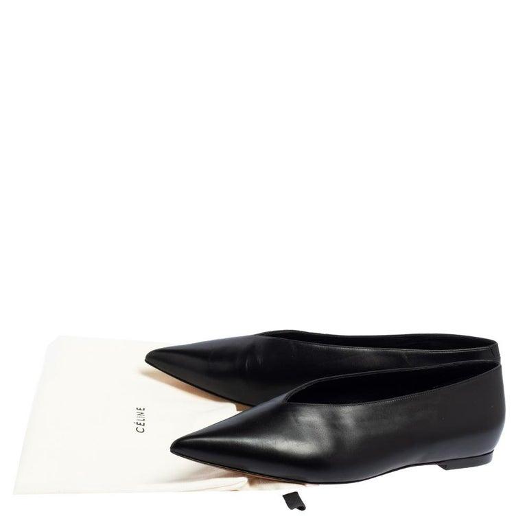 Celine Black Leather V-Neck Ballet Flats Size 37.5 For Sale 3