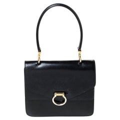 Celine Black Leather Vintage Flap Top Handle Bag