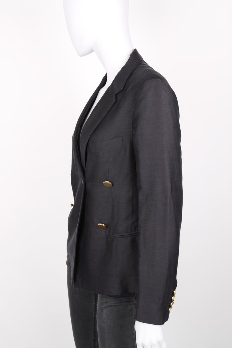 Céline Black Linen Double Breasted Longsleeve Blazer.  Double-breasted linen blazer from Céline by Phoebe Philo: black double-breasted blazer with long sleeves, front button closure, notched lapels, hip length, shoulderpads and front