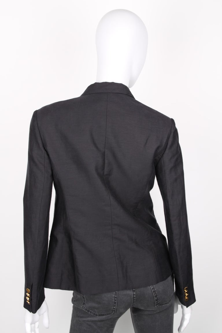 Céline Black Linen Double Breasted Longsleeve Blazer In Excellent Condition For Sale In Baarn, NL
