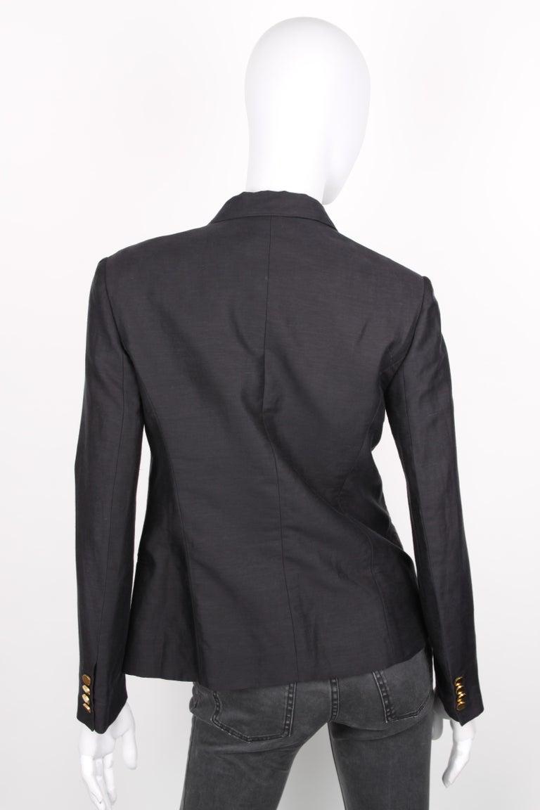 Women's or Men's Céline Black Linen Double Breasted Longsleeve Blazer For Sale