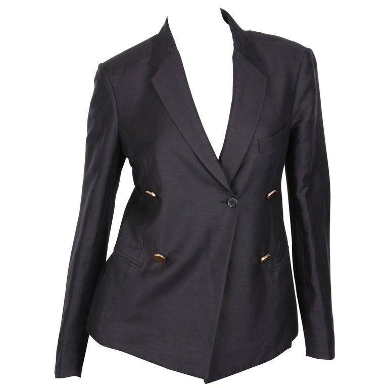 Céline Black Linen Double Breasted Longsleeve Blazer For Sale