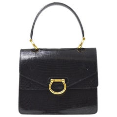 Celine Black Lizard Exotic Skin Leather Gold Top Handle Satchel Kelly Style Bag
