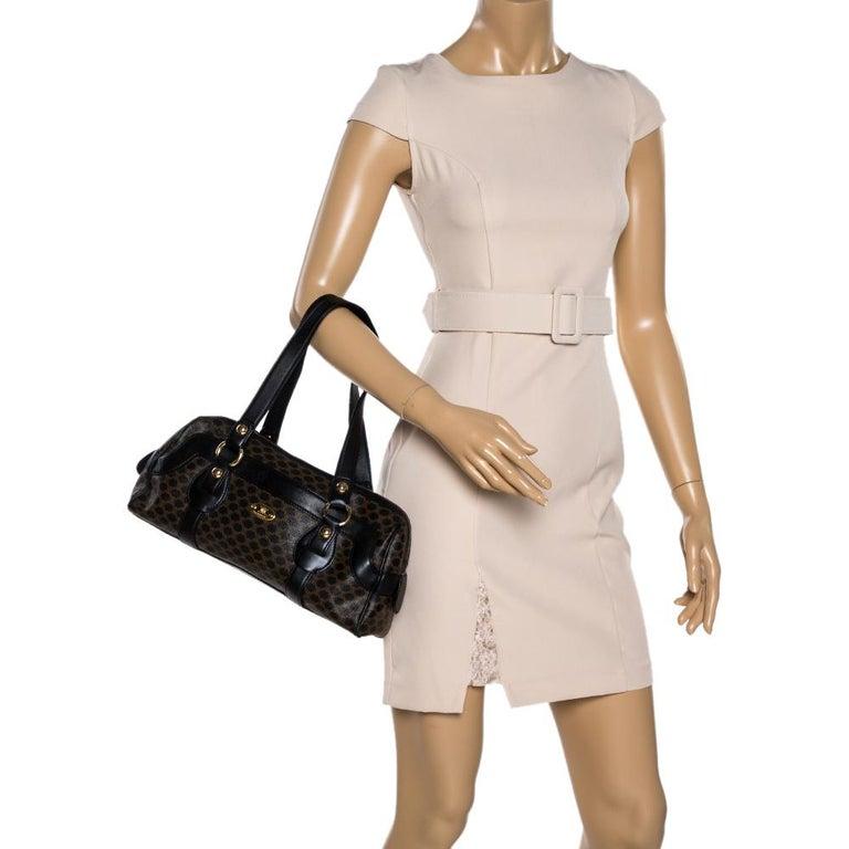 Celine Black Macadam Coated Canvas and Leather Satchel In Good Condition In Dubai, Al Qouz 2