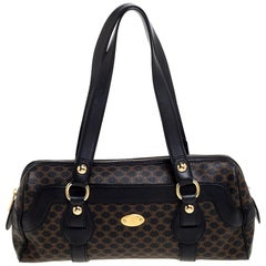 Celine Black Macadam Coated Canvas and Leather Satchel