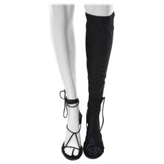 Céline Black Naked Wrap Lace-up Sandals Knee High Phoebe Boots/Booties